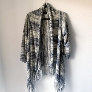 Comfy Striped Open Cardigan With Tassels